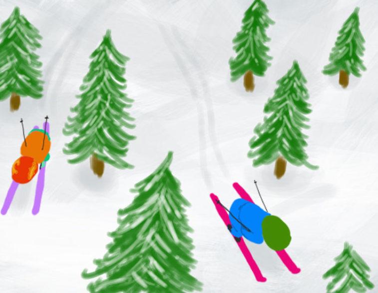 Kinderboek afbeelding Haas en Pad op wintersport van Ad Bergsma