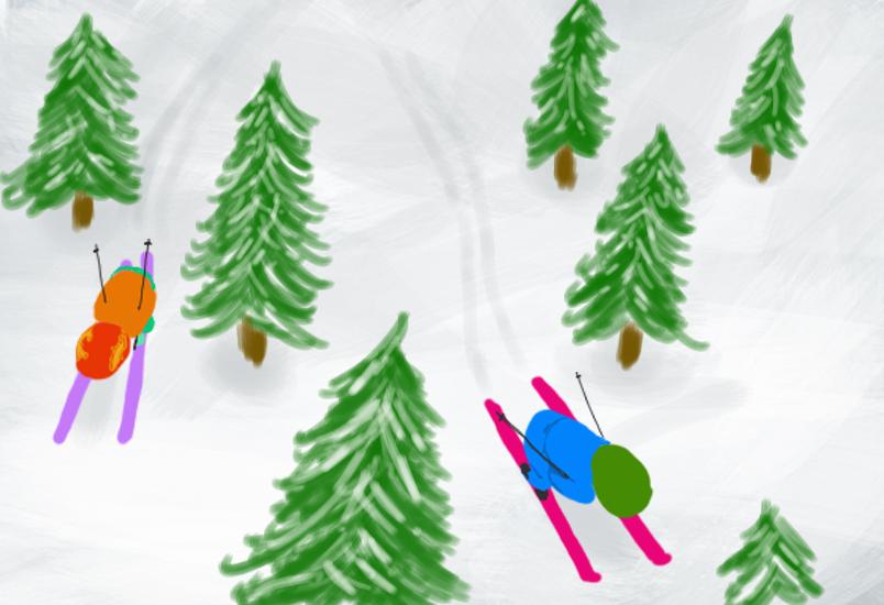 Illustratie hoofdstuk Haas en Pad op wintersport