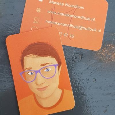 Marieke Noordhuis visitekaartje voorkant en achterkant