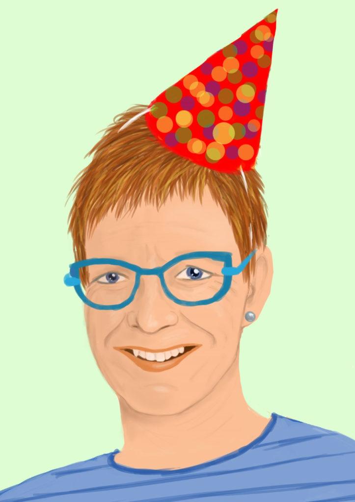 Illustratief portret Sjoukje Langelaar verjaardag