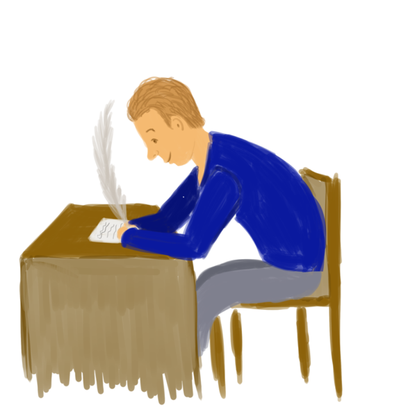 Man at a desk writing a lettre