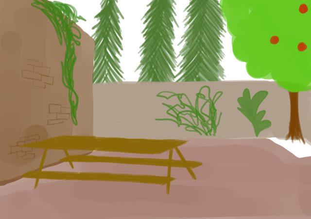 Illustratie van de tuin van Ida