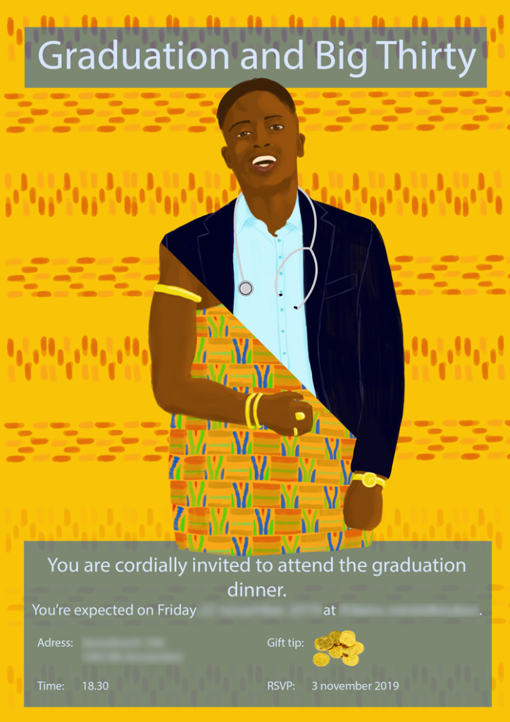 Invitation Kofi. Illustration and graphics by Marieke Noordhuis