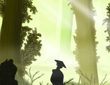 Illustration samurai in forest by Marieke Noordhuis