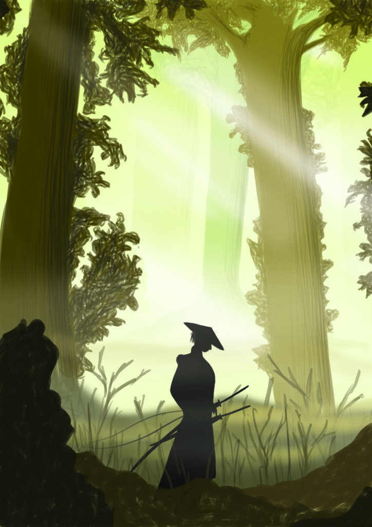 Illustration samurai in forest by Marieke Noordhuis